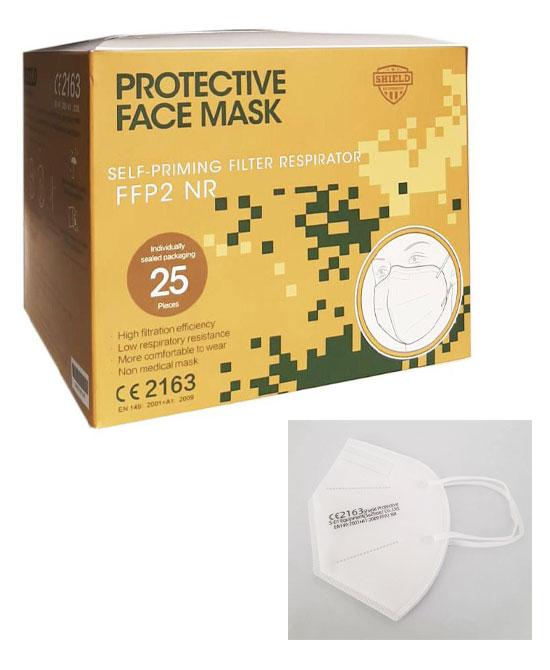 25 Mascherine FFP2 Certificata CE 2163 1 box da 25 mascherine LEGGI LE DICHIARAZIONI  DEL DISTRIBUTORE al link che trovi nella scheda prodotto - latuafarmaciaonline.it