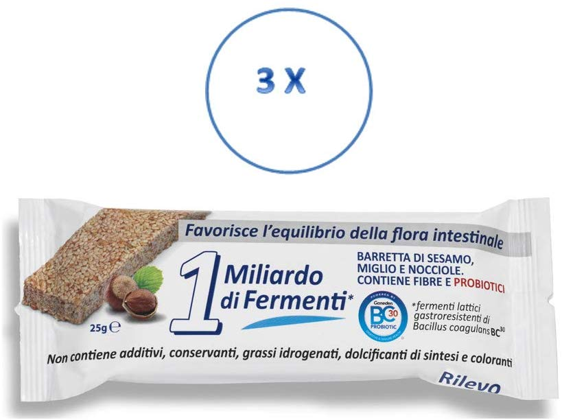 Rilevo- 3 Confezioni Singole di Barrette Spezzafame- 1 Miliardo di Fermenti (3x25 gr) - keintegratore.com