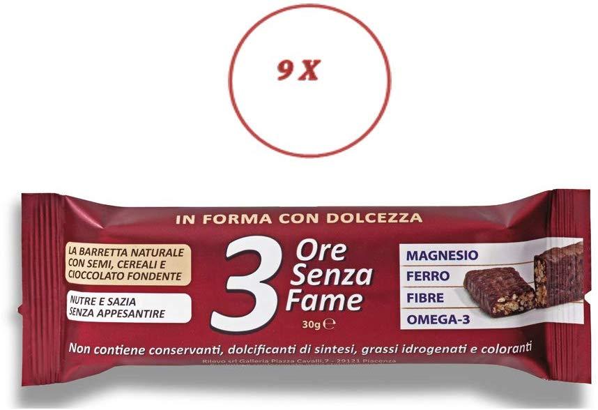 Rilevo- 9 Confezioni Singole di Barrette Spezzafame- 3 ore Senza Fame Barretta Naturale con Semi,Cereali ricoperte cioccolato fondente (9x30 gr) - keintegratore.com