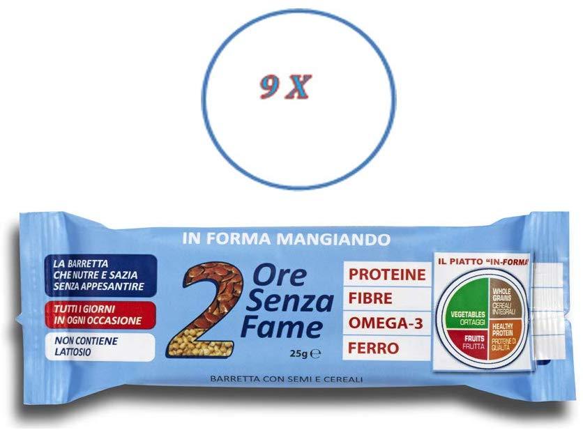 Rilevo- 9 Confezioni Singole di Barrette Spezzafame- 2 Ore Senza Fame Barretta Naturale con Semi e Cereali (9x25 g) - keintegratore.com