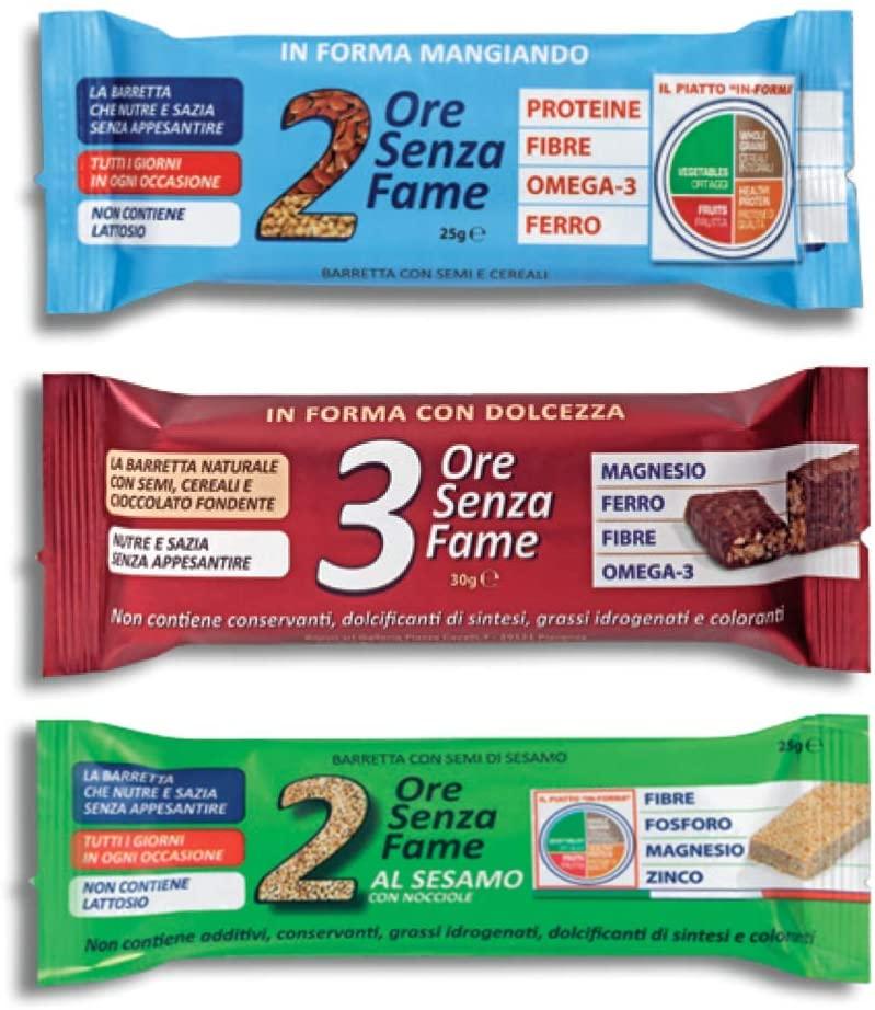 Rilevo Kit Assaggio: 2 Ore Senza Fame + 3 ore Senza Fame Al Cioccolato + 2 Ore Senza Fame Al Sesamo - keintegratore.com