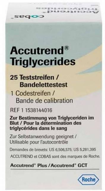 STRISCIA REATTIVA PER MISURAZIONE DEI TRIGLICERIDI ACCUTREND 25 PEZZI - Farmacia Giotti