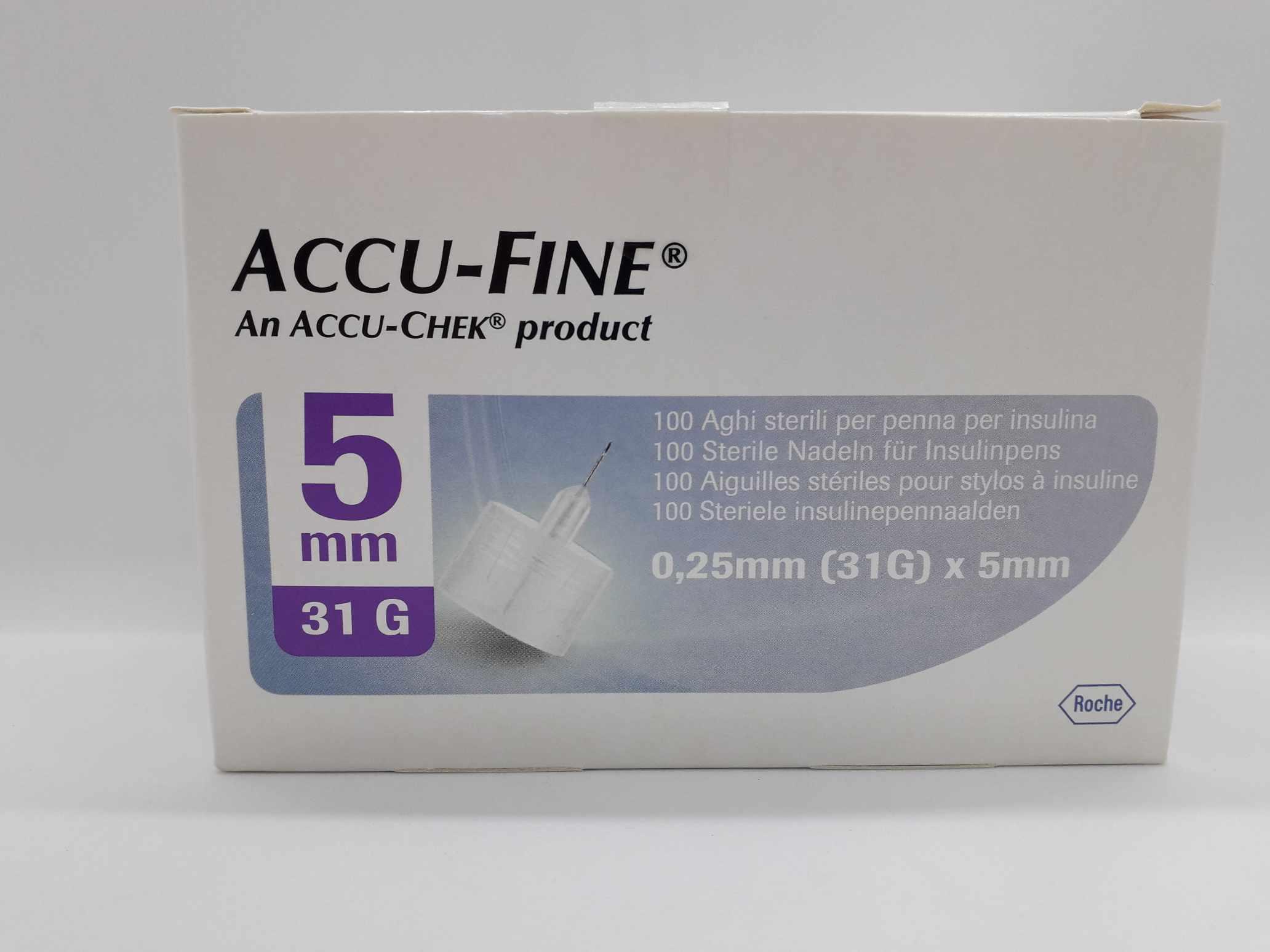 AGO PER PENNA DA INSULINA ACCU-FINE PEN NEEDLE ACCU-CHEK GAUGE 31 X 5MM 100 PEZZI - Farmaciaempatica.it