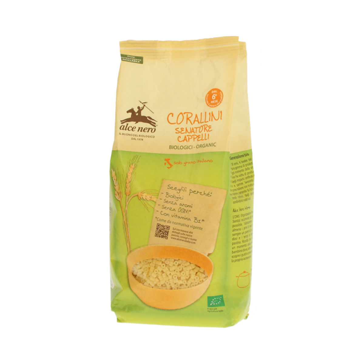 Alce Nero Corallini di grano duro Cappelli biologici 500 gr - Iltuobenessereonline.it