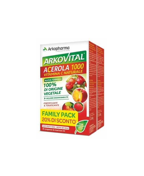 Arkoviltal Acerola 1000 Family Pack 60 Compresse - latuafarmaciaonline.it