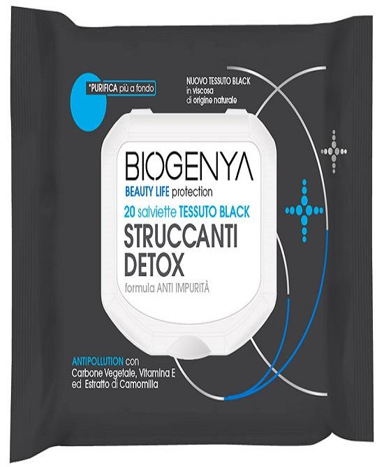 BIOGENYA BEAUTY LIFE PROTECTION 20 SALVIETTE TESSUTO BLACK STRUCCANTI DETOX - farmaventura.it