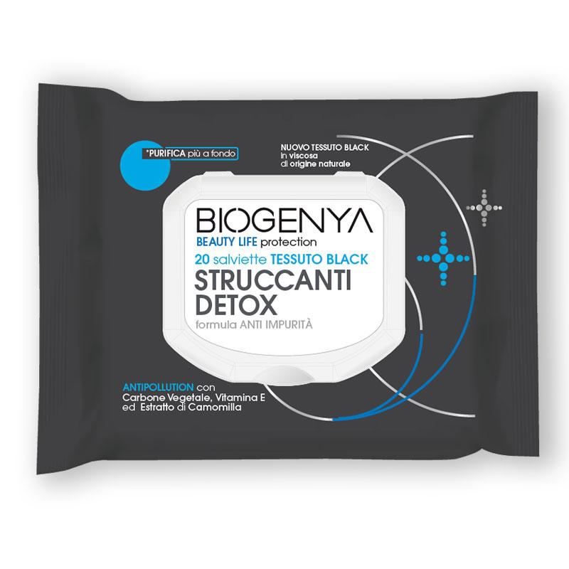 BIOGENYA BEAUTY LIFE PROTECTION 20 SALVIETTE TESSUTO BLACK STRUCCANTI DETOX - Farmavicinoate