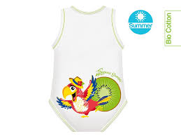 BODY 0-36M BIO COTTON SUMMER TROPICAL PAPPAGALLO - Farmawing