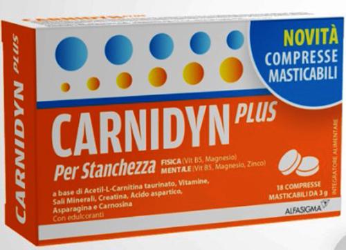 CARNIDYN PLUS 18 COMPRESSE MASTICABILI - Farmacia Centrale Dr. Monteleone Adriano