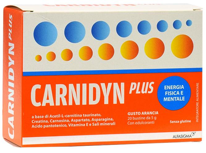 CARNIDYN PLUS 20 BUSTINE DA 5 G GUSTO ARANCIA - Farmacia Centrale Dr. Monteleone Adriano