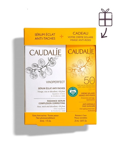 Caudalie Vinoperfect Siero Illuminante Antimacchie 30ml + in omaggio Crema Solare Viso Anti Age SPF50+  25ml Cofanetto - Farmastar.it