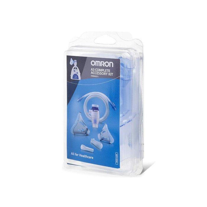 OMRON A3 COMPLETE KIT RICAMBIO AMPOLLA REGOLABILE + TUBO + MASCHERINA PEDIATRICA + MASCHERINA ADULTI + FORCELLE NASALI + BOCCAGLIO - Farmastar.it