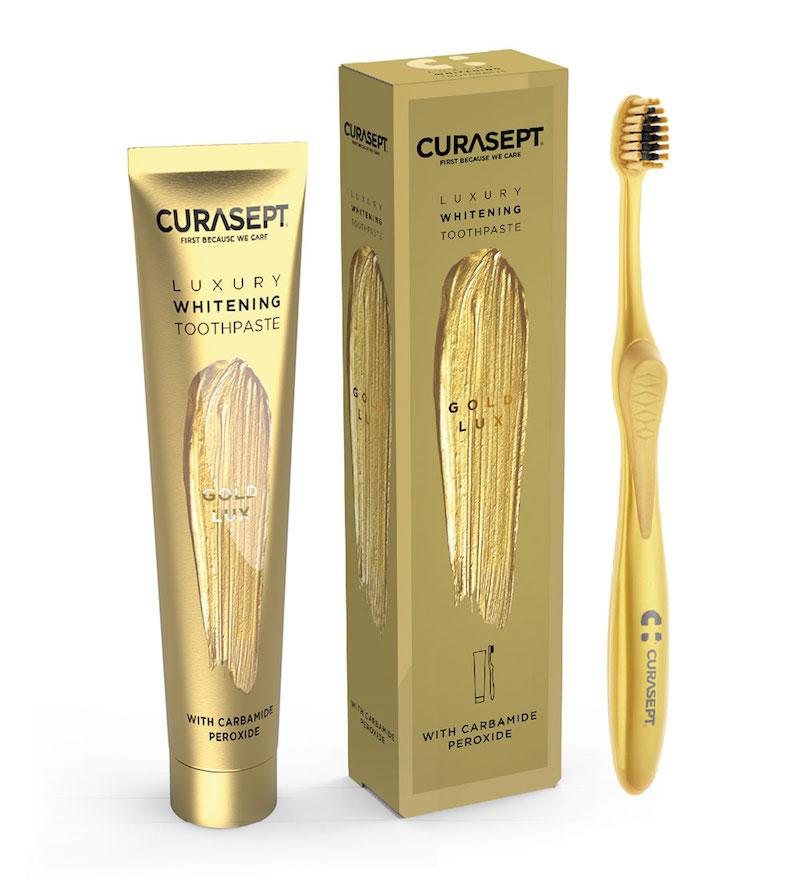 Curasept Gold Luxury Whitening Dentifricio 75ml + Spazzolino - Arcafarma.it
