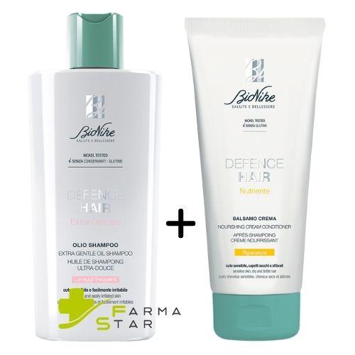 Defence Hair Olio Shampoo Extra Delicato per Lavaggi Frequenti 400 ml + Defence Hair Balsamo Crema Nutriente Riparatore 200 ml Bionike - Farmastar.it
