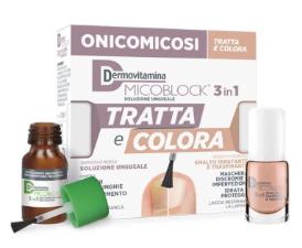 DERMOVITAMINA MICOBLOCK TRATTA E COLORA 3 IN 1 SOLUZIONE UNGUEALE 7 ML + SMALTO IDRATANTE TRASPIRANTE 5 ML - Farmaciacarpediem.it