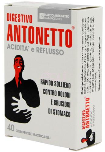 DIGESTIVO ANTONETTO ACIDITA' E REFLUSSO 40 COMPRESSE MASTICABILI - Farmacia Centrale Dr. Monteleone Adriano