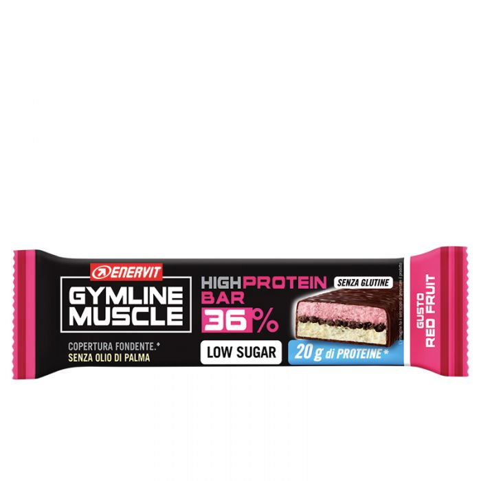 ENERVIT GYMLINE HIGH PROTEIN BAR 36% RED FRUIT BARRETTA 55 G - Farmafamily.it