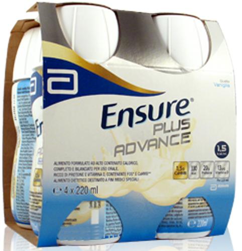 ENSURE PLUS ADVANCE VANIGLIA 4 BOTTIGLIE DA 220 ML - Farmacia Centrale Dr. Monteleone Adriano