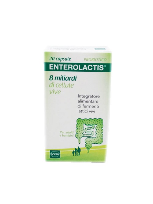 SOFAR ENTEROLACTIS INTEGRATORE ALIMENTARE FERMENTI LATTICI 20 CAPSULE - Farmastar.it