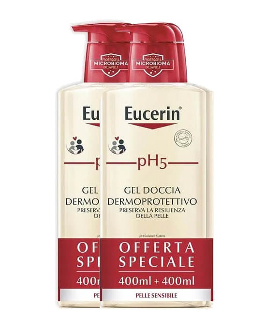 Eucerin Bipack pH5 Gel Doccia Detergente Pelle Sensibile 400ml+400 ml - Farmastar.it