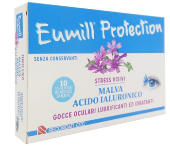 EUMILL PROTECTION GOCCE OCULARI LUBRIFICANTI E IDRATANTI 10 FLACONCINI MONODOSE - Farmafamily.it