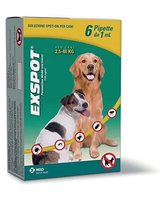 EXSPOT CANE 6 PIPETTE 1 ML PER CANI DA 2,5 KG A 40 KG - Farmaci.me