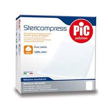 GARZA COMPRESSA IDROFILA PIC STERICOMPRESS 10X10 CM 4 BUSTE  25 PEZZI - FarmaHub.it
