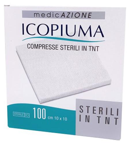GARZA COMPRESSA IN TESSUTO NON TESSUTO ICOPIUMA ADESIVA 10X10 CM 100 PEZZI - Farmacia Centrale Dr. Monteleone Adriano