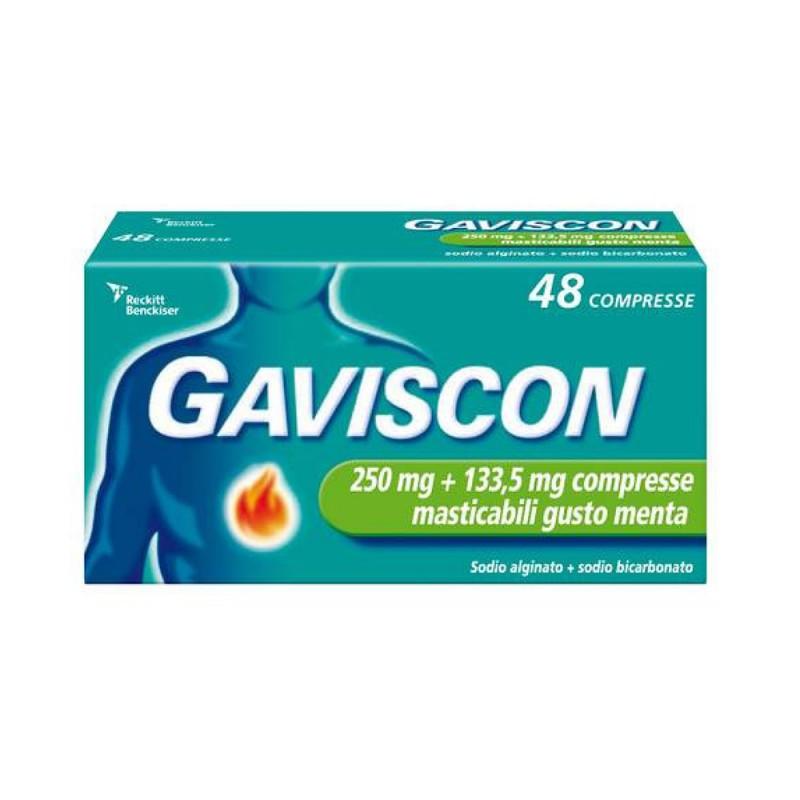 Gaviscon 250 + 133,5mg Gusto Menta 48 Compresse Masticabili - Arcafarma.it