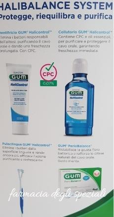 GUM HALIBALANCE SYSTEM KIT CONTENENTE COLLUTORIO + DENTIFRICIO + INTEGRATORE + ACCESSORI IGIENE ORALE - farmaciadeglispeziali.it