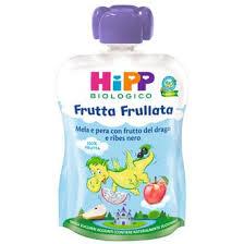 HIPP BIO FRUTTA FRULLATA DRAGONE MELA PERA FRUTTA DEL DRAGO RIBES NERO 90 G - farmaciafalquigolfoparadiso.it