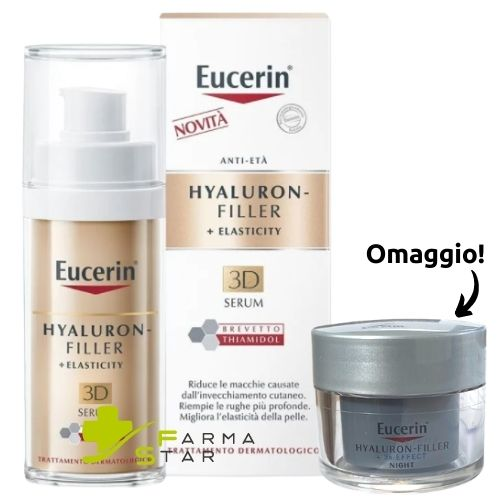 Hyaluron Filler + Elasticity 3D Siero Anti Età 30 ml Eucerin + Crema Mani PH5 Eucerin IN OMAGGIO - Farmastar.it