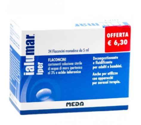 IALUMAR IPER 24 FLACONCINI MONODOSE DA 5 ML CON SOLUZIONE STERILE DI ACQUA DI MARE IPERTONICA 3% E ACIDO IALUORONICO PROMOZIONE - Farmafirst.it