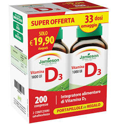 JAMIESON DUOPACK VITAMINA D 1000 CON PILLOLIERA PROMO - Spacefarma.it