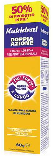 KUKIDENT PLUS DOPPIA AZIONE CREMA ADESIVA PER PROTESI DENTARIE 60 G - Farmacia Centrale Dr. Monteleone Adriano