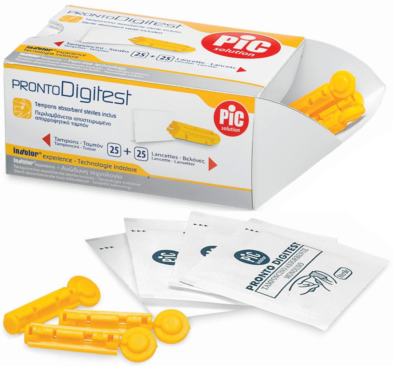 LANCETTE PUNGIDITO PIC DIGITEST GAUGE 28 25 PEZZI + 25 TAMPONCINI ASSORBENTI - Farmacia Centrale Dr. Monteleone Adriano