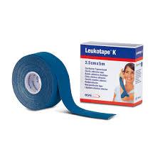 BENDA ADESIVA LEUKOTAPE K PER TAPING FISIOTERAPICO LARGHEZZA 2,5 CM LUNGHEZZA 5 M COLORE BLU IN ROTOLO - Farmawing