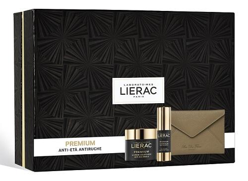 Lierac Cofanetto Regalo Donna Premium Crema Viso Voluptueuse 50 ml + Premium Occhi 15 ml + Pochette Rue des Fleurs omaggio - Farmastar.it