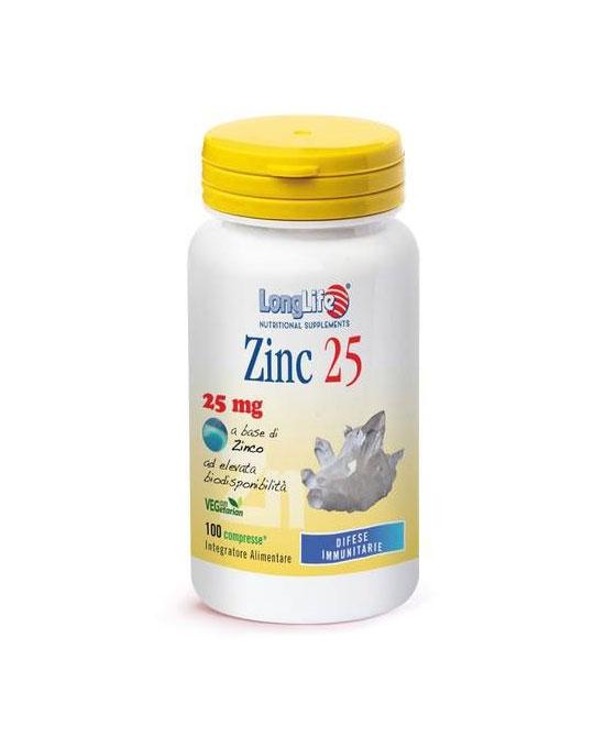 LONGLIFE ZINC 25 MG 100 COMPRESSE - latuafarmaciaonline.it
