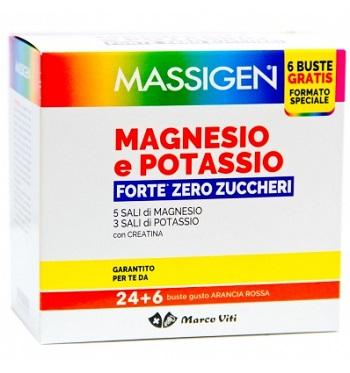 MASSIGEN MAGNESIO POTASSIO FORTE ZERO ZUCCHERI 24 BUSTINE + 6 BUSTINE - Farmafamily.it