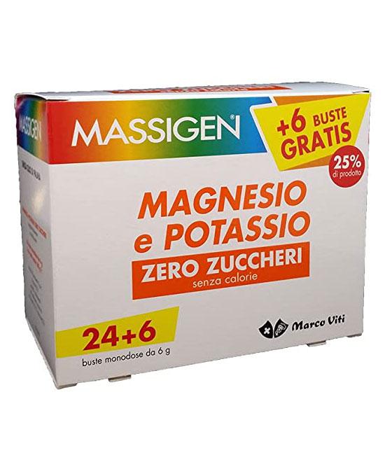 Massigen Magnesio e Potassio Zero Zuccheri 24 Buste + 6 gratis  - latuafarmaciaonline.it
