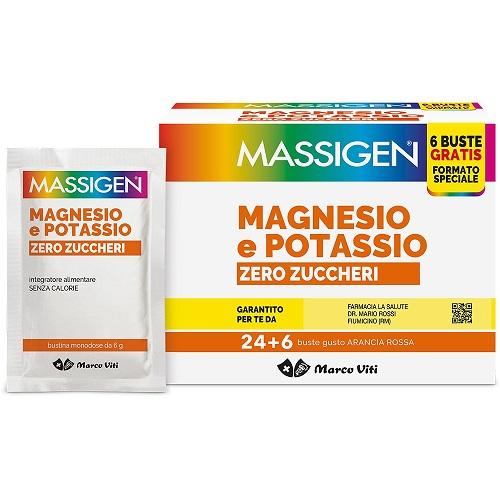MASSIGEN MAGNESIO/POTASSIO ZERO ZUCCHERI 24 BUSTINE + 6 BUSTINE - Nowfarma.it