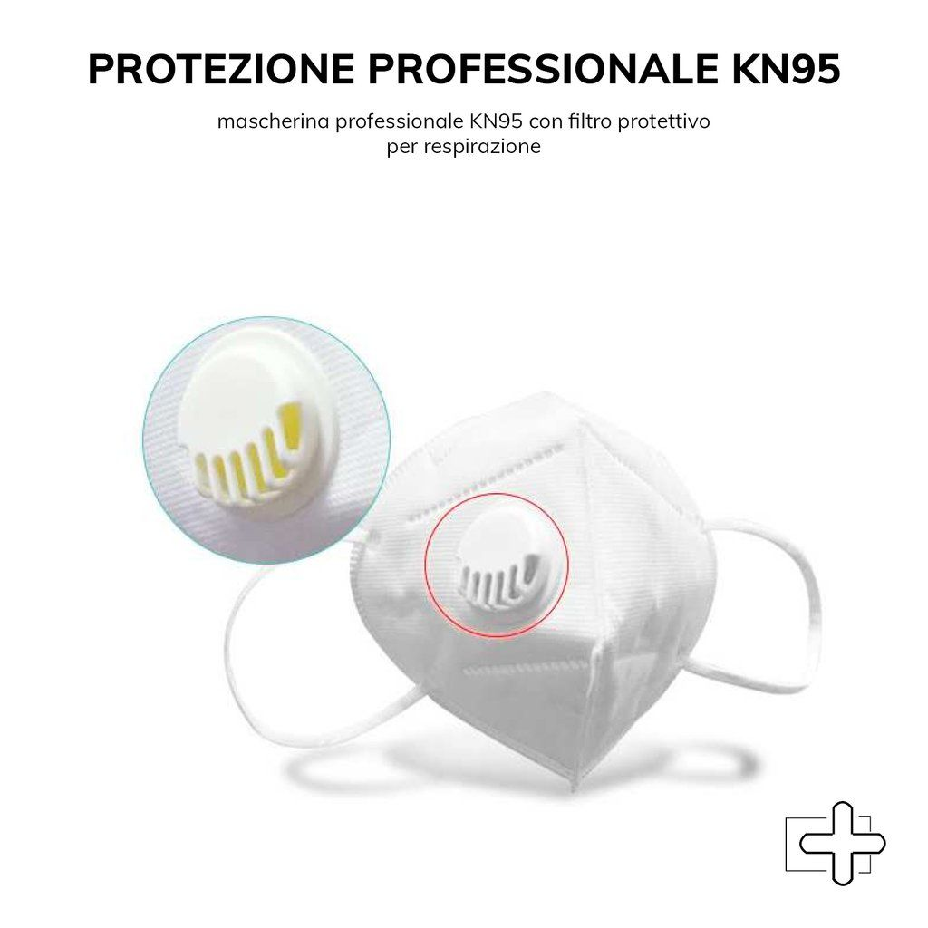MASCHERINA PROFESSIONALE  KN95F FFP2 CON VALVOLA - Iltuobenessereonline.it