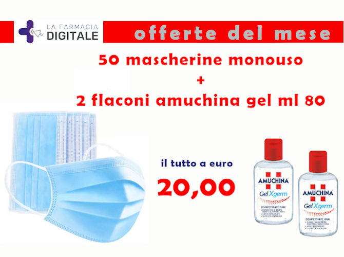 KIT 50 MASCHERINE + 2 AMUCHINA GEL 80 ML - La farmacia digitale