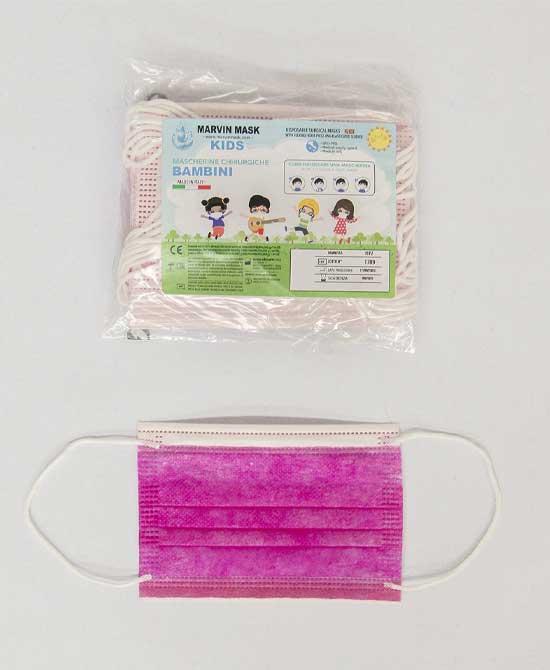 Mascherina Chirurgica Bambino Marvin Mask Colore  Fucsia Certificate Ce 10 Mascherine - latuafarmaciaonline.it