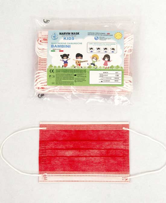 Mascherina Chirurgica Bambino Marvin Mask Colore  Rossa Certificate Ce 10 Mascherine - latuafarmaciaonline.it