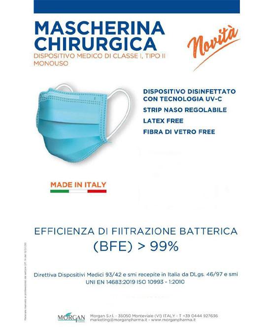 Mascherina Chirurgica mono uso confezione da 10 pezzi. Dispositivo medico Uni En 14683 Tipo II CE - latuafarmaciaonline.it