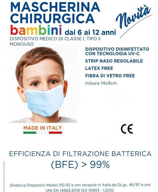Mascherina Chirurgica mono uso da bambino (6-12) confezione da 10 pezzi. - latuafarmaciaonline.it