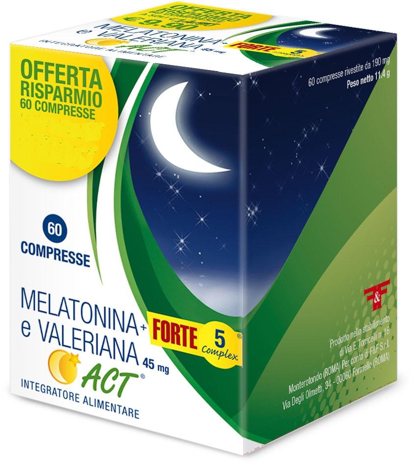 MELATONINA ACT 1MG + VALERIANA + 5 FORTE COMPLEX 60 COMPRESSE - Farmacia Centrale Dr. Monteleone Adriano