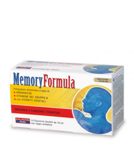 MEMORY FORMULA INTEGRATORE ALIMENTARE 10 FLACONI 10ML - Iltuobenessereonline.it